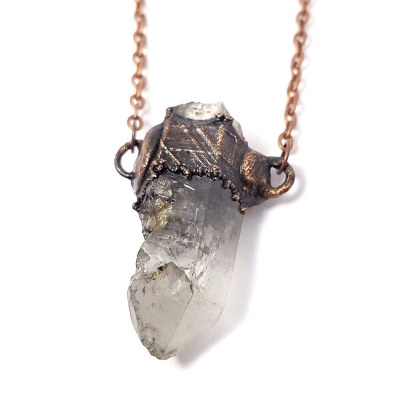 Mens ghost quartz crystal necklace copper plated NWT